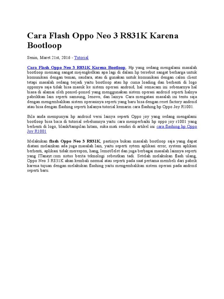 Cara Flash Oppo Neo 3 R831k Karena Bootloop