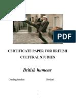 Certificate Paper for British Cultural Studies