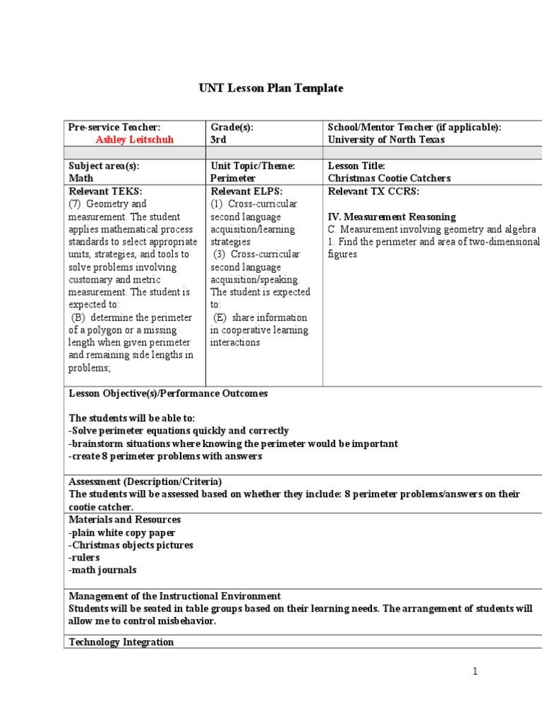 Unt Lesson Plan Template Pasoevolistco - Technology integration lesson plan template