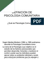 Definicion de Psicologia Comunitaria