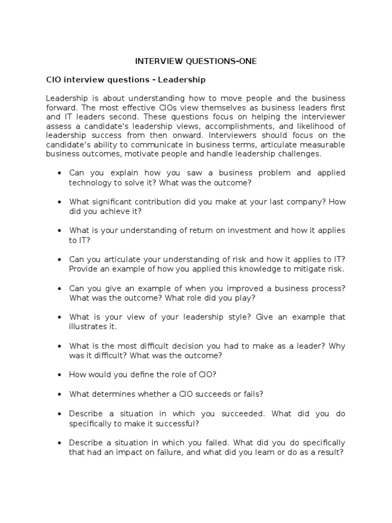 cio interview questions Recommended interview questions to ask your cio candidates.