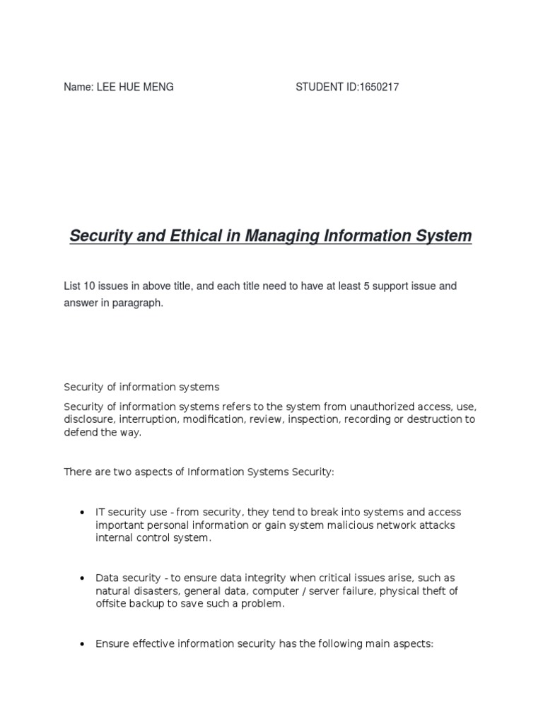Managing Information System Security