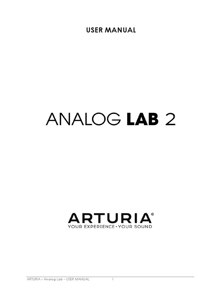 Analog Lab Manual | Synthesizer | Graphical User Interfaces