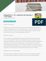 Adosphere 1 a1 Methode de Francais 1 CD Audio