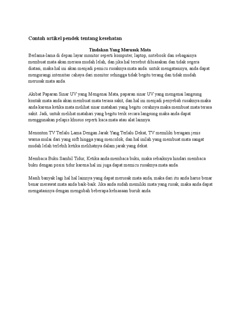 Contoh Artikel Tentang Kesehatan Yang Pendek Brad Erva Doce Info
