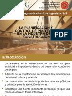 Presentación La Planificación y Control de Proyectos en Al Industria de La Construccion