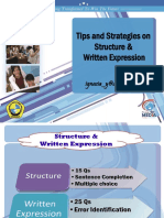 Tips and Strategies on Structure and Written Expression