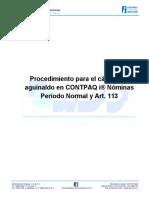 Procedimiento Para El Calculo Del Aguinaldo en Un Periodo Normal Utilizando El ART 113