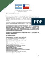 Declaración Viii Reunión Binacional de Ministros de Argentina y Chile Diciembre 1916