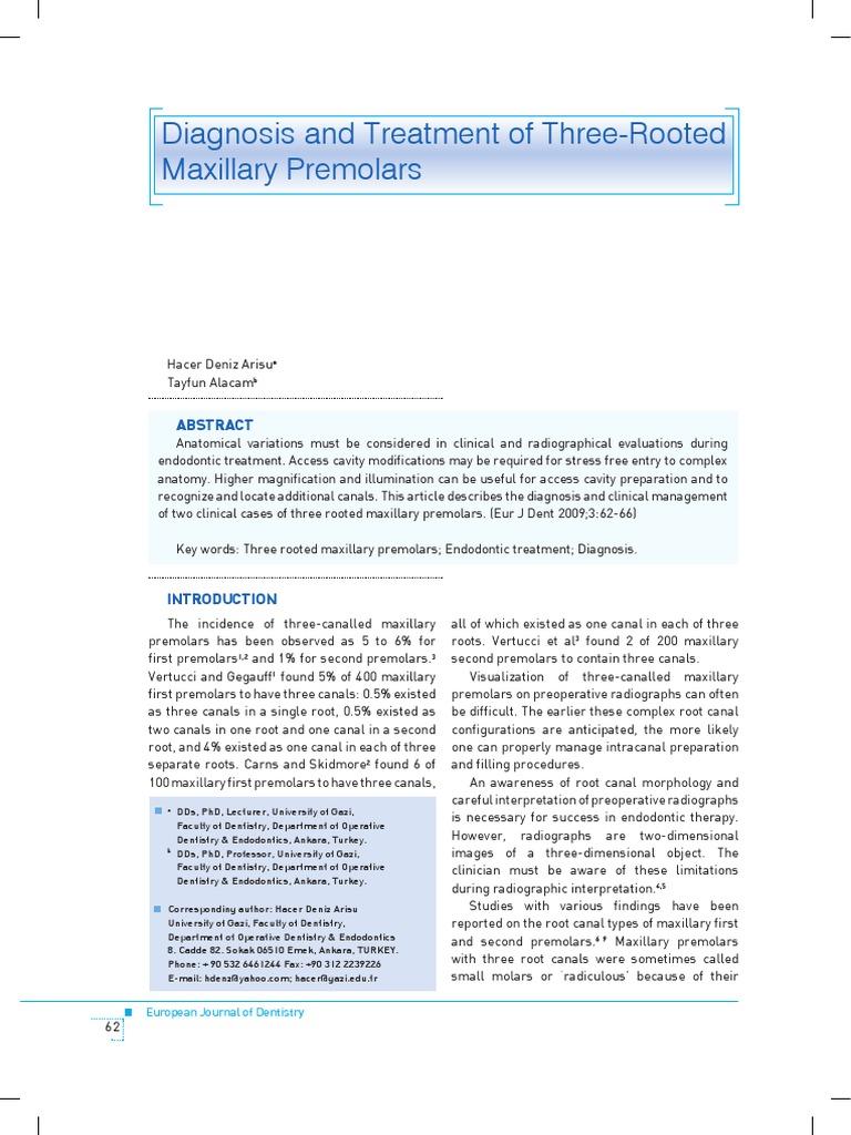 Diagnosticul si Tratamentul premolarilor maxilari cu 3 radacini ...