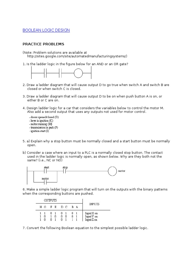 Practice Problems Boolean Algebra Switch Ladder Diagram Has A Simplify Programming