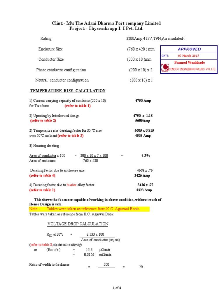 3200A Busduct Busbar Calculation pdf | Electrical Impedance