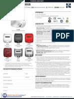 Excel Dryer XLERATOR Spec Sheet