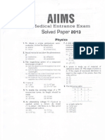 Aiims Mbbs 2013 Sample Paper