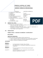 Silabo de Direccion y Gerencia de Organizaciones