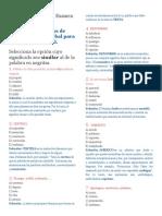 Examen Razonamiento Verbal Español