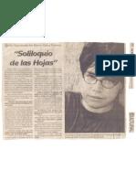 Entrevista Sobre Soliloquio de las hojas - Por Luis Cabrera Vigo