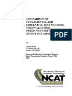 Comparison of Fundamental and Simulative Test Methods for Evaluating Permanent Deformation of Hot Mix Asphalt