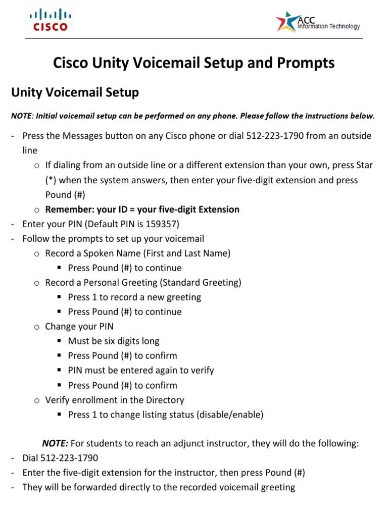 Cisco Unity Vm Setup And Promptspdf Voicemail Electronics