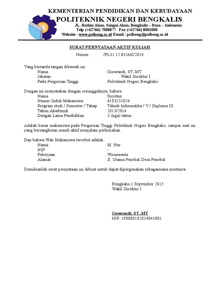 Surat Pernyataan Aktif Kuliah Untuk Beasiswa