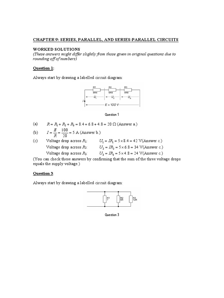 Series And Parallel Circuit Diagrams Answer Trusted Wiring Simple Circuits Chapter 9 Serparl