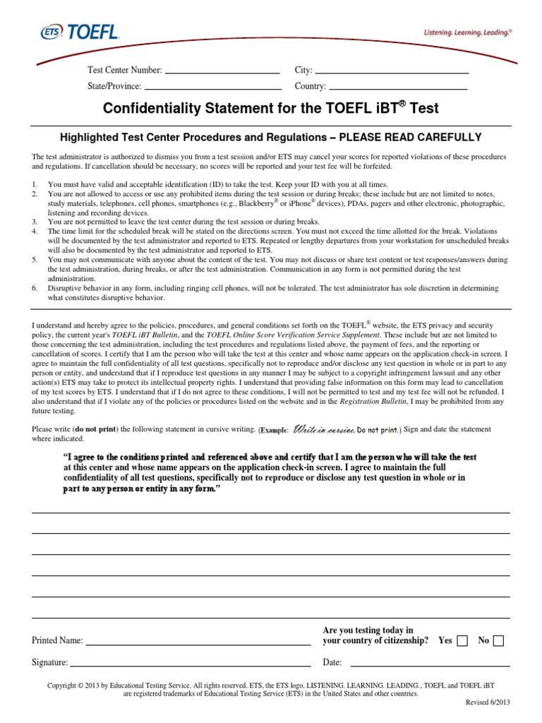 TOEFL Confidentiality Statement (STN) | Test Of English As A Foreign  Language | Crime U0026 Justice