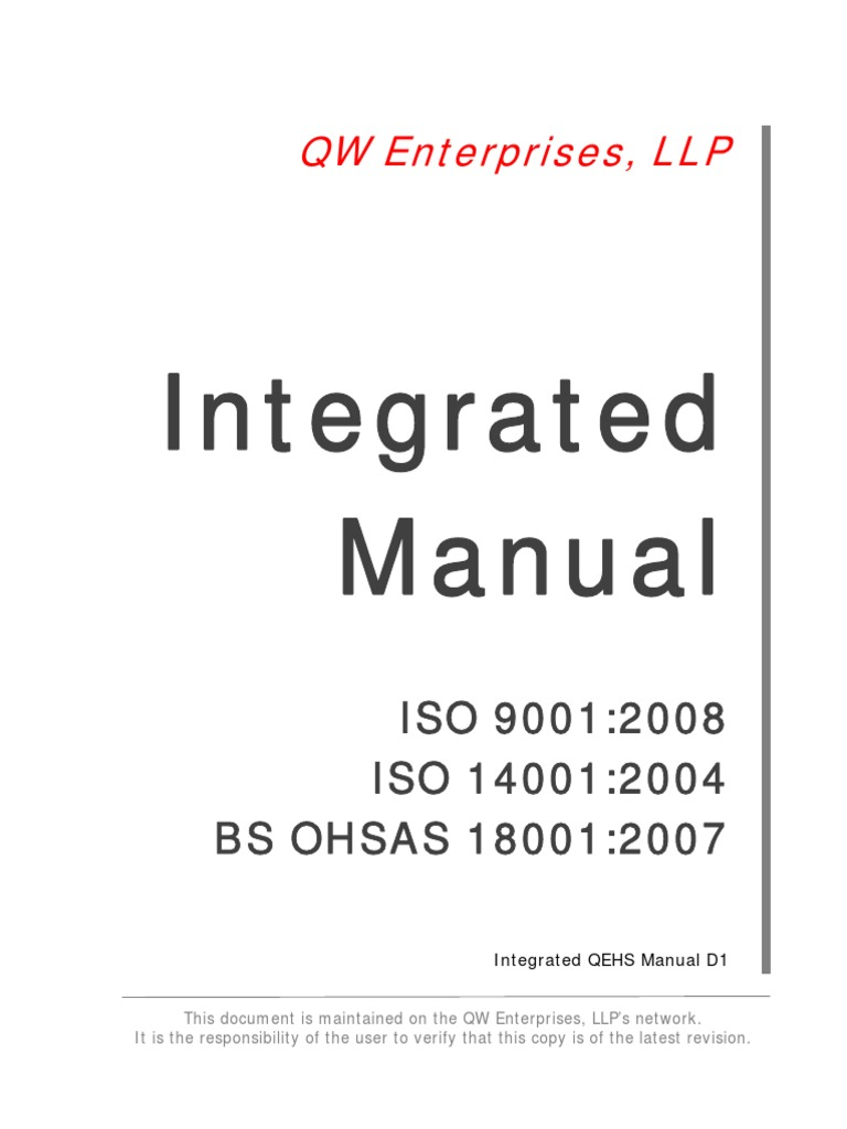 Integrated QEHS Manual Preview | Iso 9000 | Occupational Safety And Health