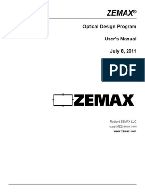 Zemax Manual pdf | Aperture | Lens (Optics)