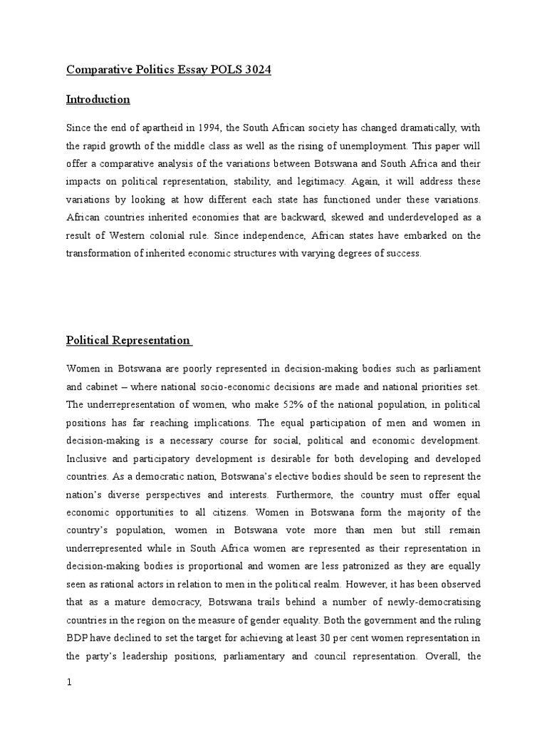 Examples Of English Essays  Example Of An English Essay also Critical Essay Thesis Statement Comparative Politics Essay Pols   Botswana  Apartheid Buy Research Report Writing