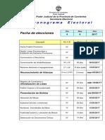 Cronograma Electoral Elecciones Municipales Ctes. 04-06-17
