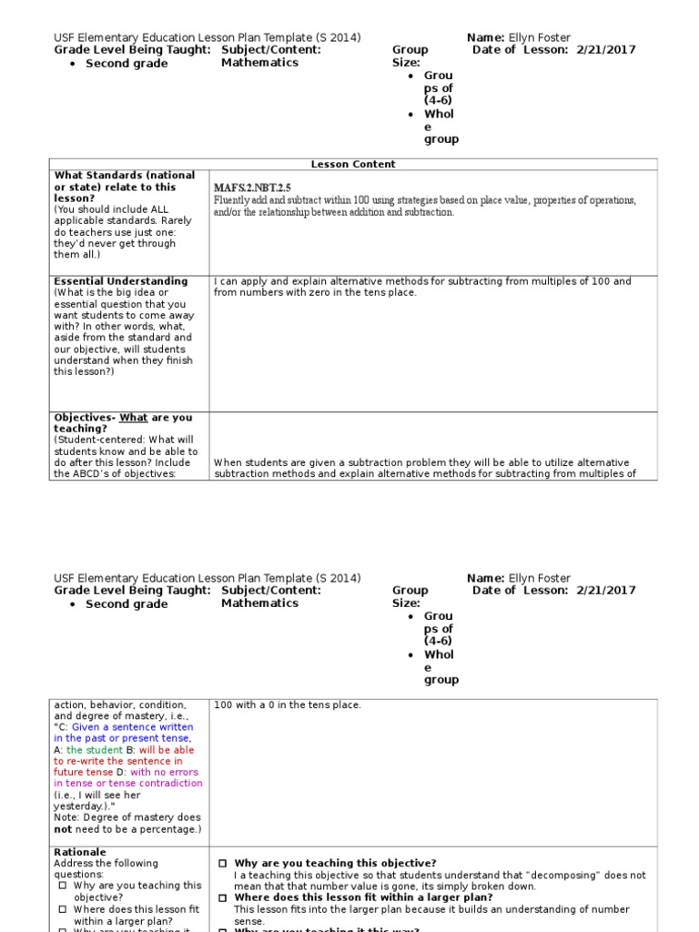 Level Supervisor Observation Lesson Plan Lesson Plan - One subject lesson plan template