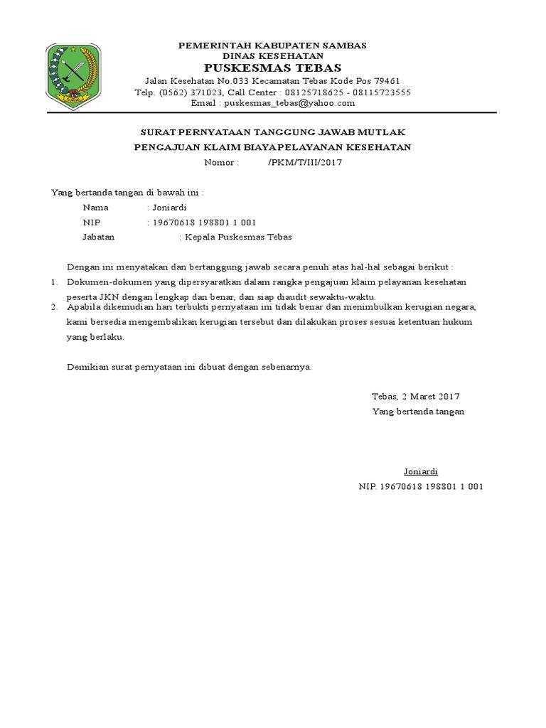 Surat Pernyataan Tanggung Jawab Mutlak Pengajuan Klain Bpjs