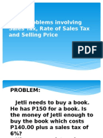 Word Problems Involving Sales Tax, Selling Price
