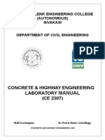 Concrete & Highway Engg Lab Manual 2014
