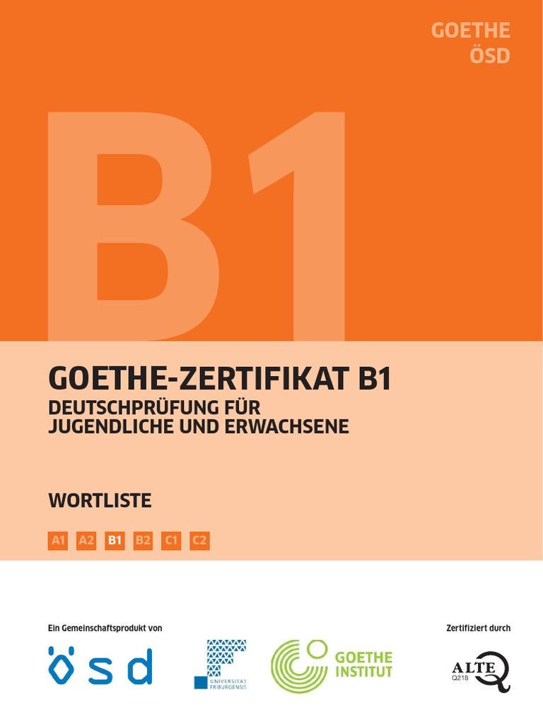 Goethe Zertifikat B1 Wortliste Deutsch