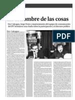 """Diagonales - suplemento Plaza Ideas """"En el nombre de las cosas"""""""