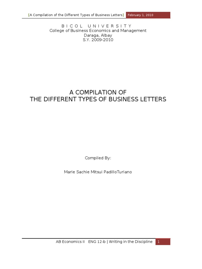 Example Letter of Inquiry – Sample of Inquiry Letter in Business