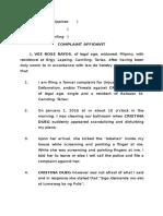 Complaint Oral Defamation