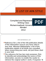 Reference List of Apa Style