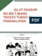 Pagbasa at Pagsuri Ng Iba'T-ibang Teksto Tungo Sa Pananaliksik