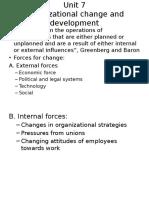 Unit 7 Organizational Change and Development