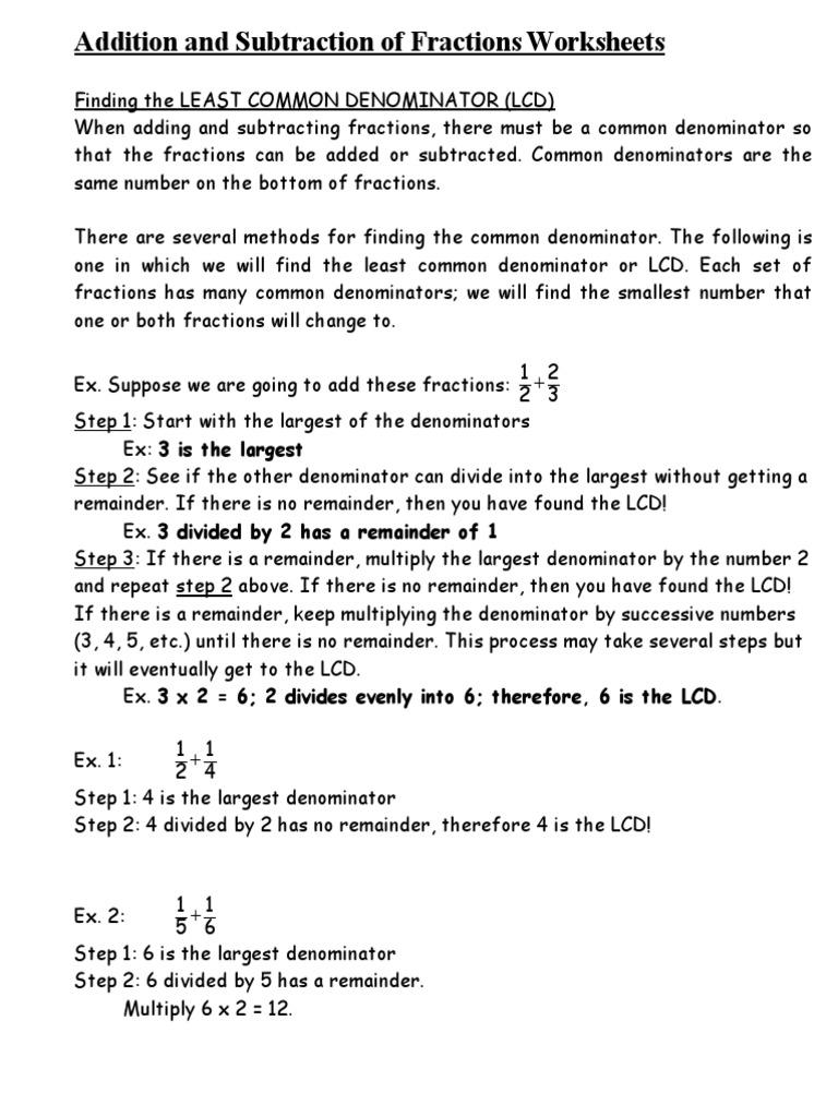 Workbooks subtraction of fractions worksheets : Adding and Subtracting Fractions Worksheets.doc | Fraction ...