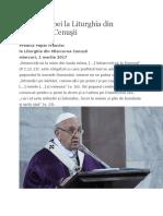 Predica Papei La Liturghia Din Miercurea Cenuşii