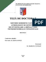 Metode Moderne Clinice, Audiologice Si Genetice de Investigare a Hipoacuziei Neurosenzoriale Congenitale