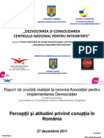 Sondaj National CNI Perceptii Si Atitudini Privind Coruptia Din Romania 27 Decembrie 2011