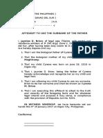 Affidavit to Use Surname