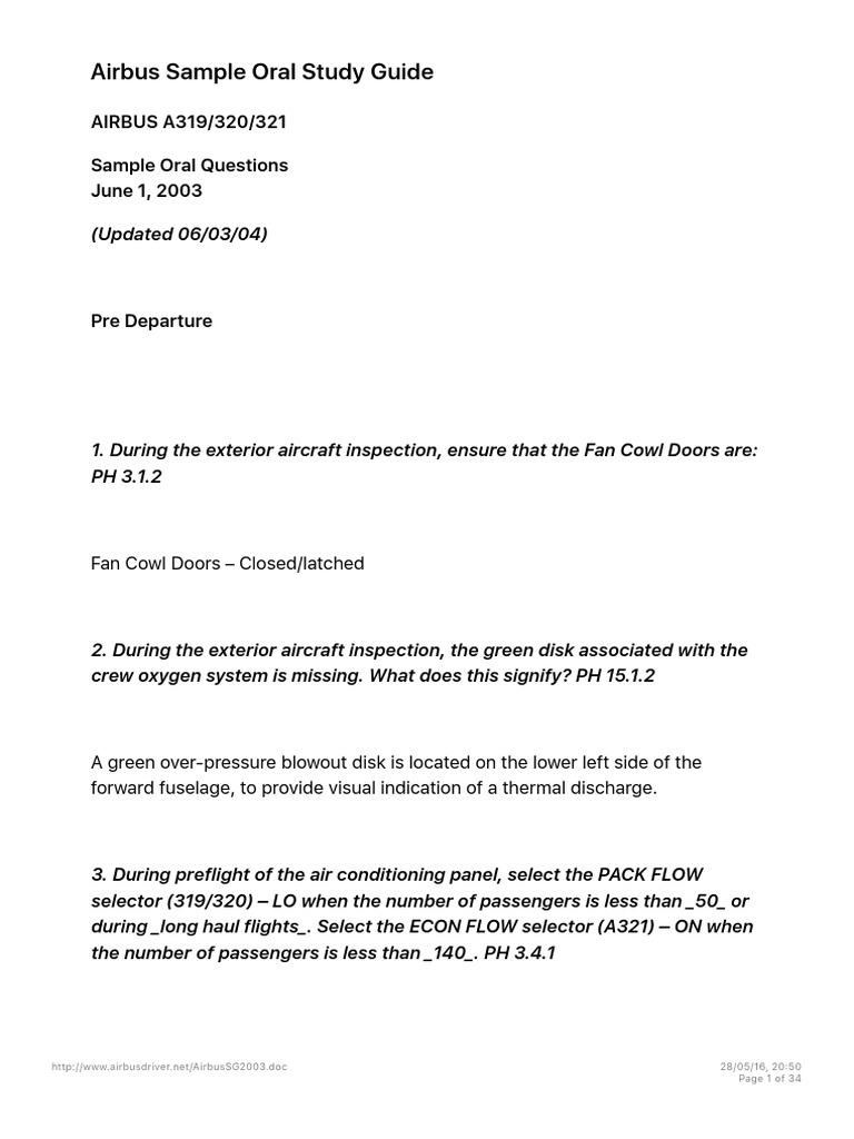 airbus sample oral study guide takeoff airport rh scribd com
