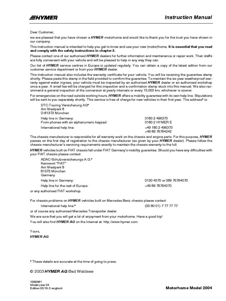 Hymer manualpdf guarantee window asfbconference2016 Choice Image