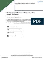 The Influence of Magnesium Deficiency on the Growth of Chlorella - Yoshinori Fujimoto & Jyun Sakamoto