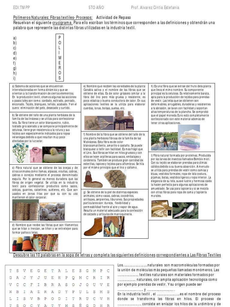 Actividad de Repaso. Tema: Fibras Textiles